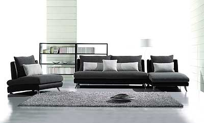Contemporary Fabric and Leather Match Sofa Set JOE-F60