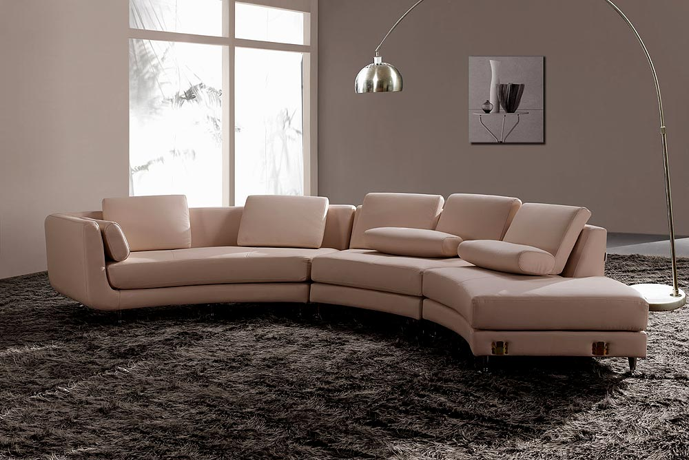 White italian leather round sectional sofa 20 sectionals for Leather sectional sofa