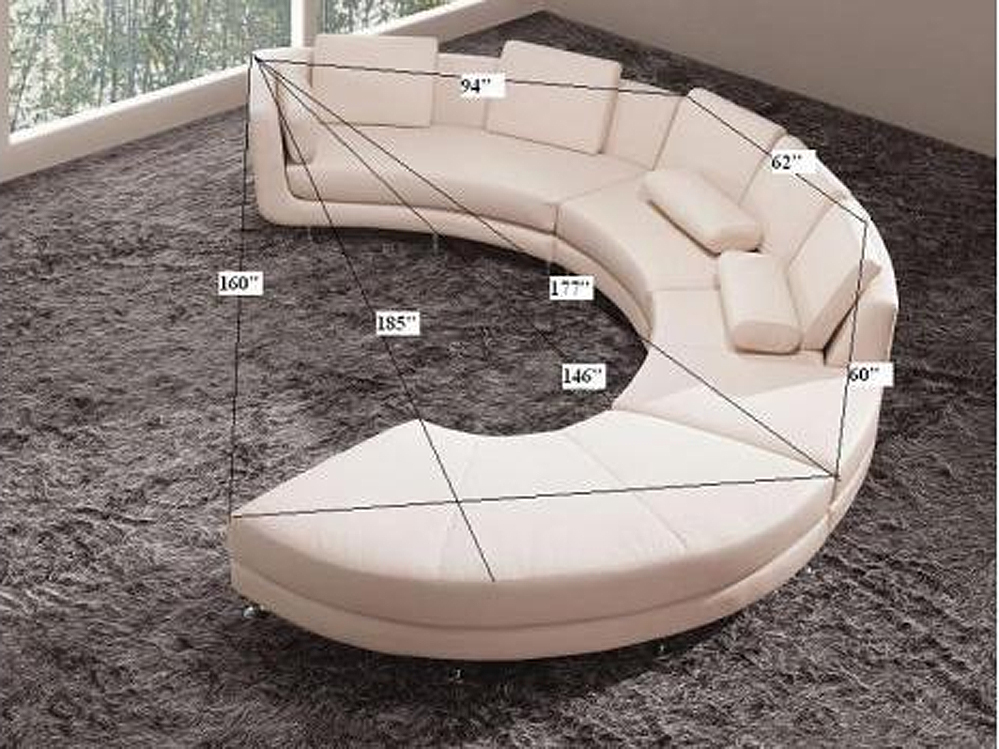 White Italian Leather Round Sectional Sofa 20 Sectionals