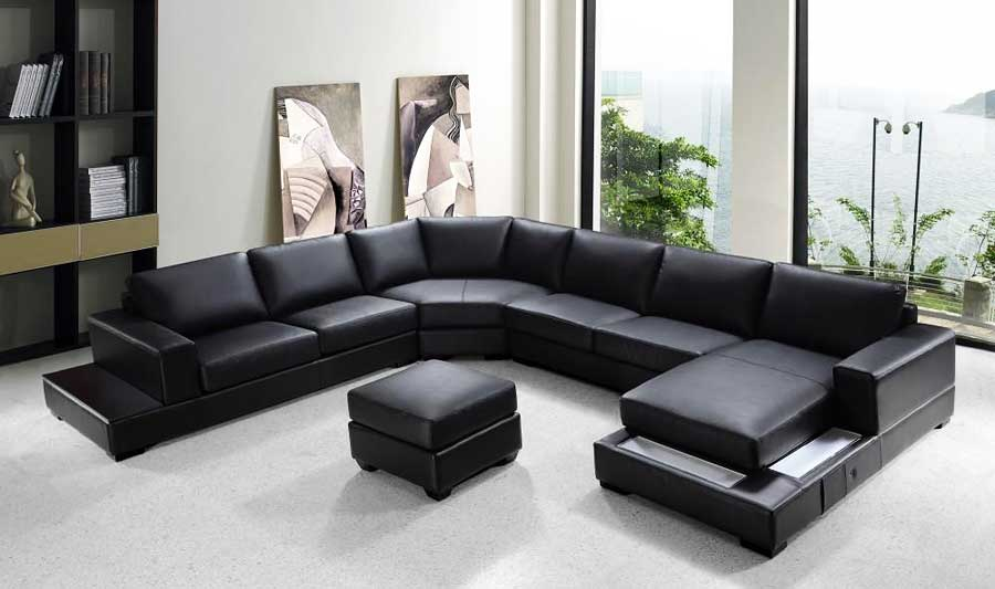 Vg Rz Modern Black Sectional Sofa