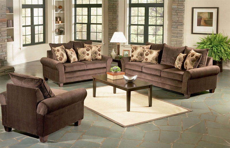 Viva chocolate living room set sofas for Living room sets