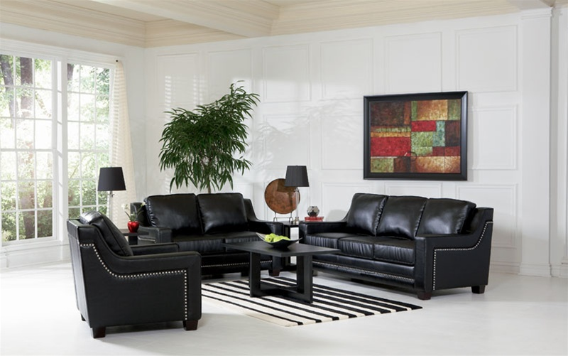 Finely Leather Living Room Set in Black | Sofas