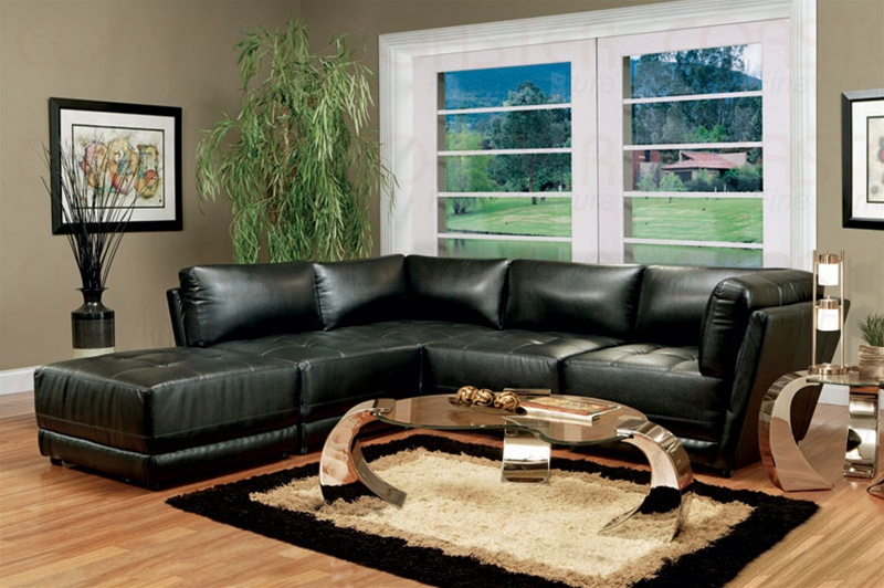 Black bonded leather sectional set sectionals for Black couch living room