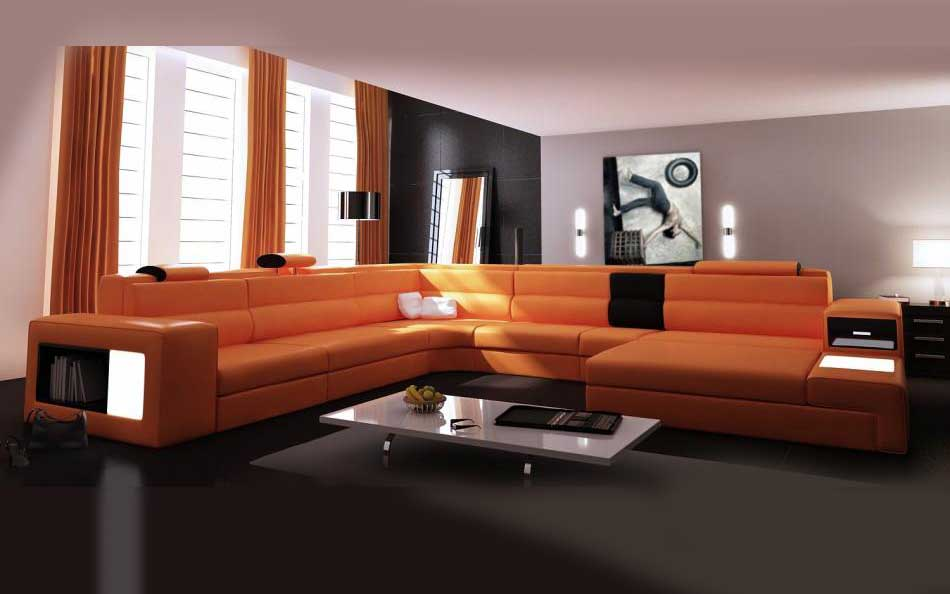 Rexona Brown Leather Sectional Sofa Sectionals