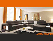 Rexona Brown leather sectional sofa