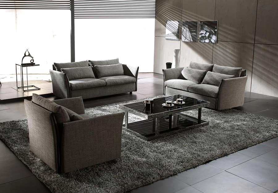 Grey Modern Contemporary Fabric Sofa Set VG-VIP | Sofas