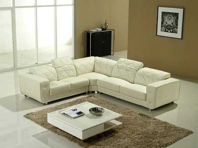 White Sectional Sofa V-23