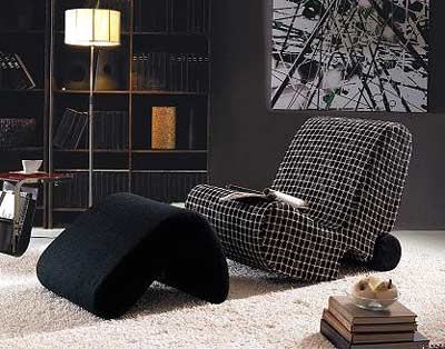 Fabric Lounge Set - Chair and Ottoman VG-Roan