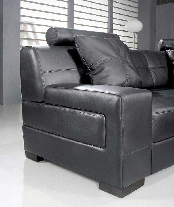 Omega Modern Black Leather Sectional Sofa ...