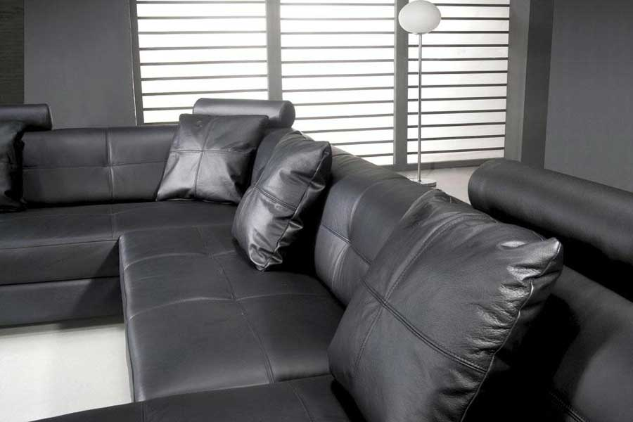 Omega Modern Black Leather Sectional Sofa Omega Modern Black Leather  Sectional Sofa ...