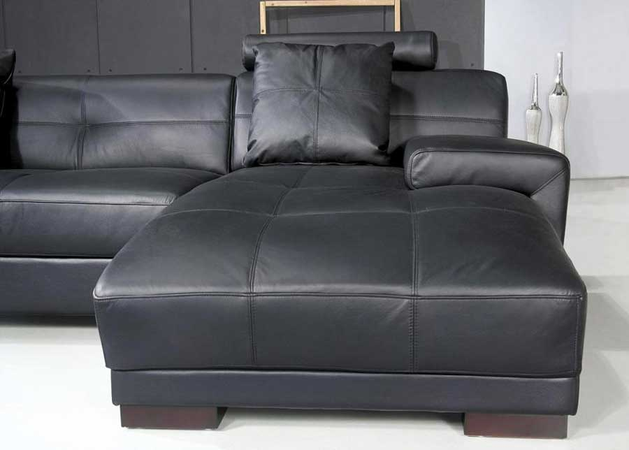 ... Omega Modern Black Leather Sectional Sofa ...