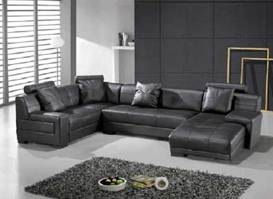 Omega Modern Black Leather Sectional  Sofa
