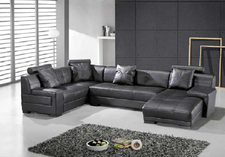Omega Modern Black Leather Sectional Sofa Sectionals - Dark grey leather sectional sofa