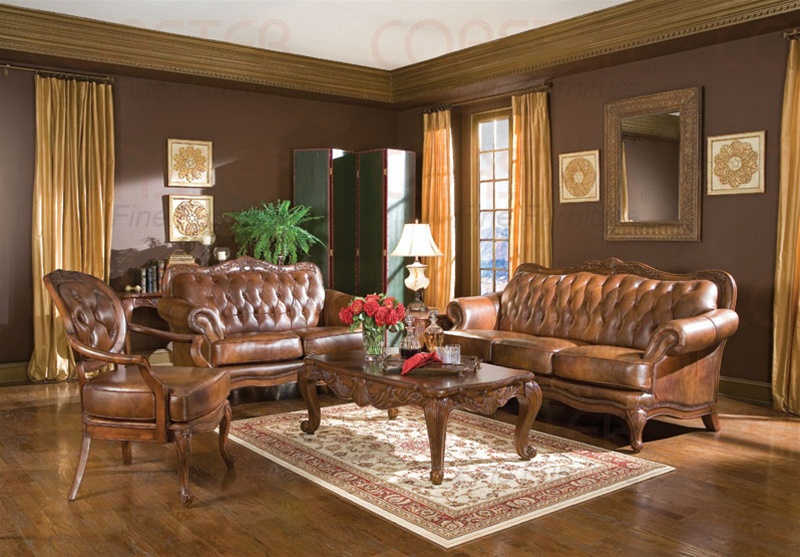 victoria collection leather pcs living room set sofa loveseat and chair esf furniture