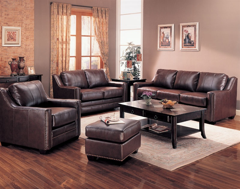 Gibson leather living room set in brown sofas for Leather living room sets