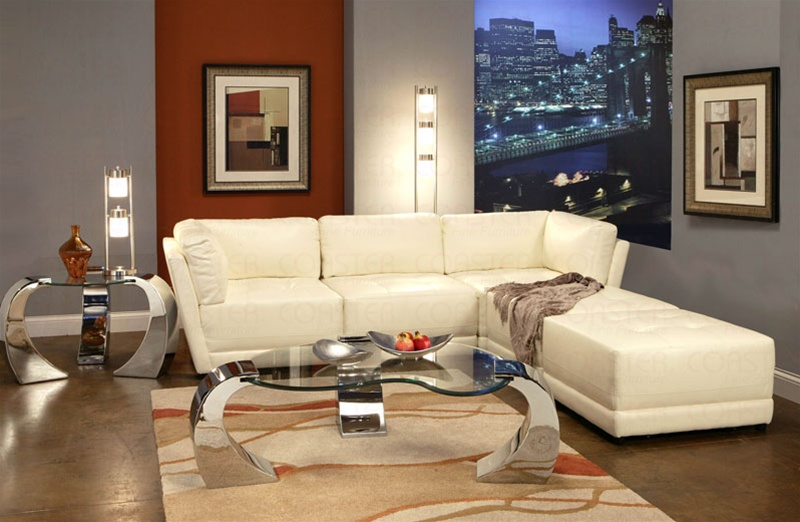 White Bonded Leather Sectional Set