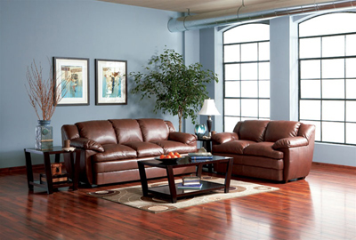 Alondra Leather Living Room Set in Brown