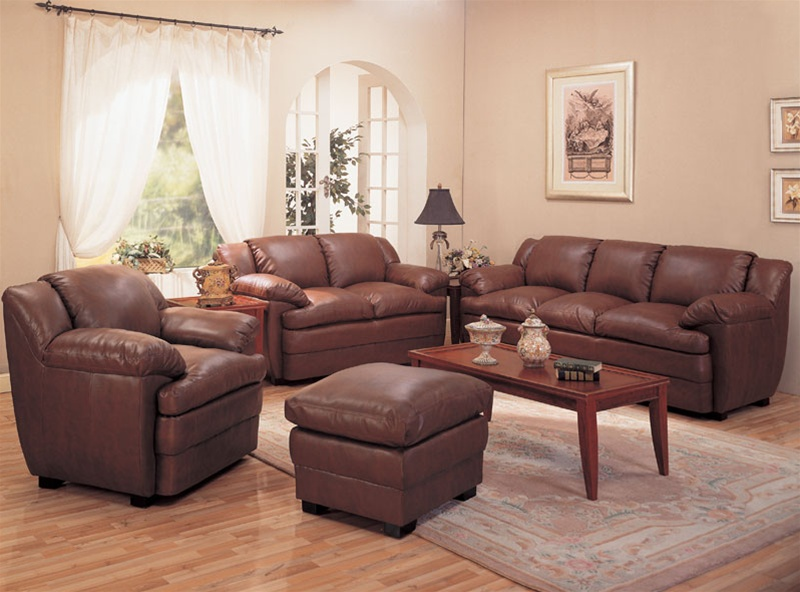Alondra leather living room set in brown sofas for Leather living room sets