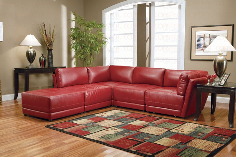 Red Bonded Leather Sectional Set