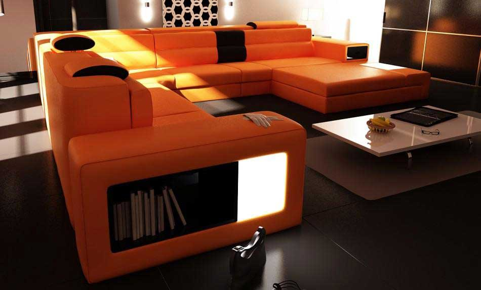 Rexona Orange Leather Sofa Rexona Orange Leather Sofa ...