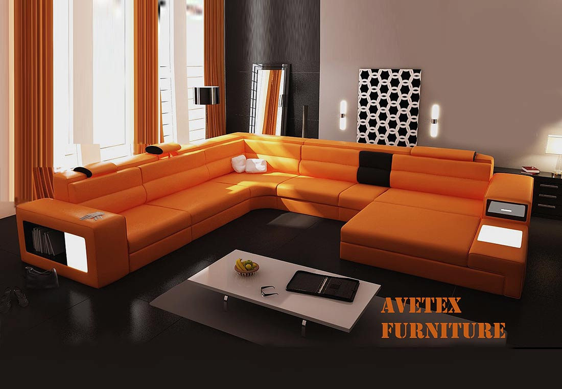Rexona Orange Leather Sofa Sectionals