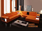 Rexona Orange   leather sofa