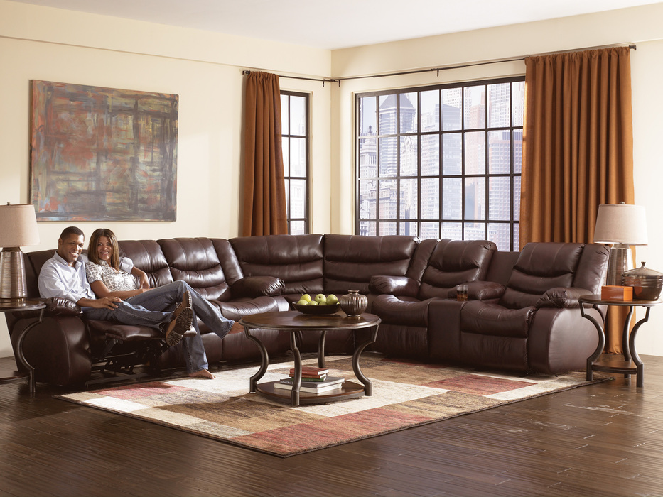 Revolution Burgundy 3 Piece Reclining Sectional Sofa ...