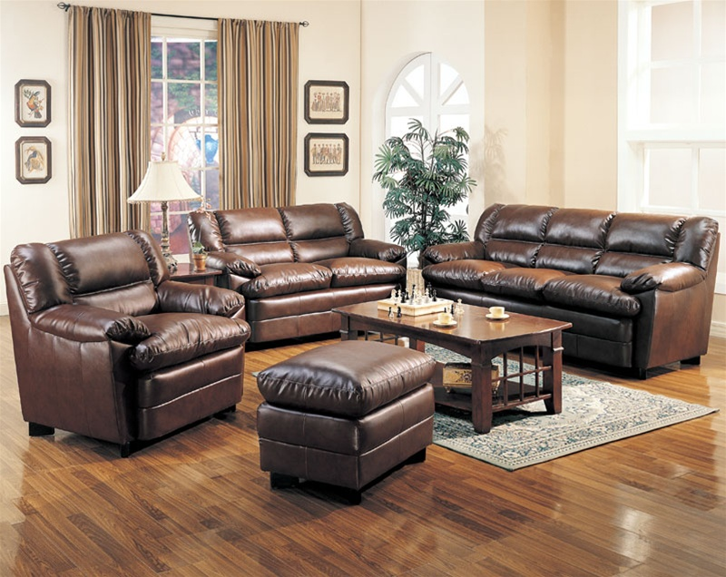 Harper leather living room set in brown sofas for Leather living room sets