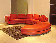 Red Circle Leather Sectional