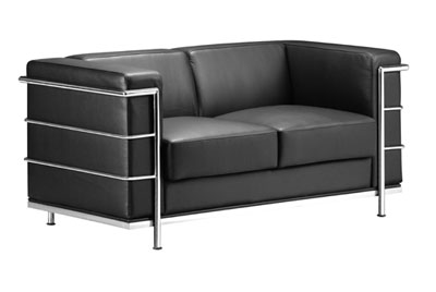 Black Contemporary Leather Sofa - Fortune