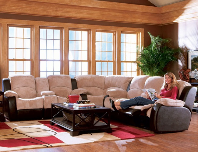 Halsey Collection Microfiber Sectional Set : two tone microfiber sectional - Sectionals, Sofas & Couches