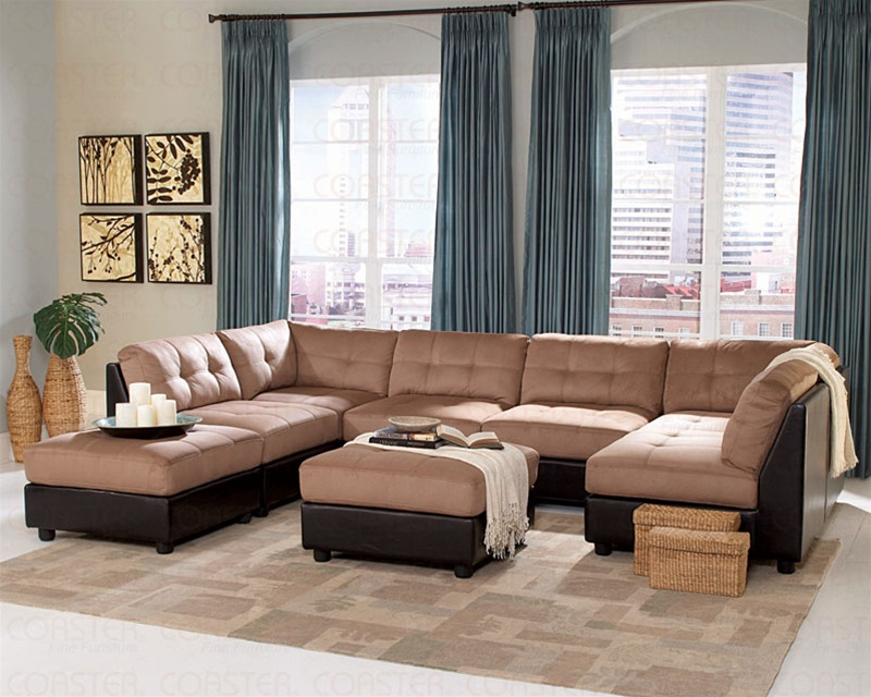 Claude Brown Microfiber Sectional Set Sectionals