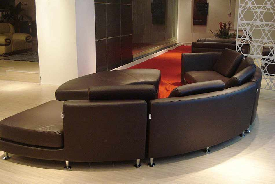 Roller Espresso leather sectional Round sofa | Sectionals