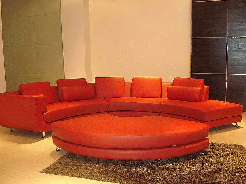 Roller espresso leather sectional round sofa sectionals Circular couches living room furniture
