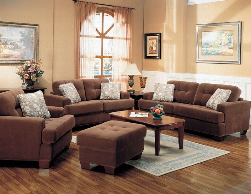 Stanley collection fabric living room set sofas for Family room sofa sets
