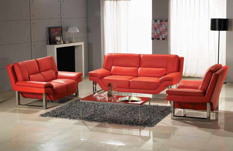 Red nicole leather sofa set sofas - Red leather living room furniture set ...