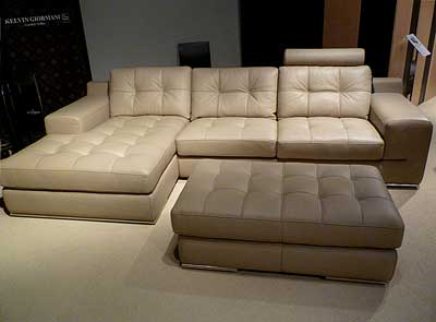 Fiore Sofa Sectional Leather  Beige