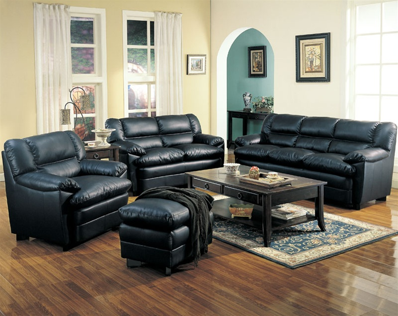 Harper leather living room set in black sofas for Living room with black leather furniture