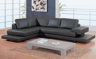 GL 2 Piece Sectional Brown Leather Match